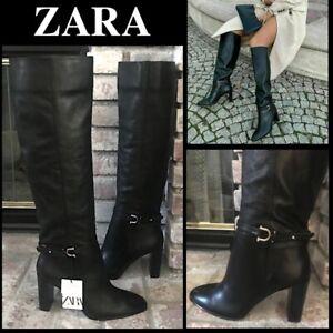 ZARA BLACK LEATHER TALL BOOTS HORSEBIT DETAIL Size 9US 40EUR 2002/610