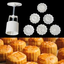 New Round Cake Mold Mooncake Mould 6 Stamps Fower Moon Cake Decor Baking Tools