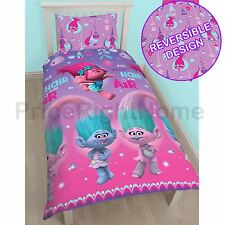 OFFICIAL TROLLS GLOW SINGLE DUVET COVER SET ROTARY KIDS BEDDING NEW