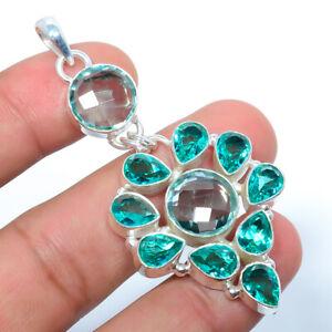"Neon Blue Apatite, Blue Topaz 925 Sterling Silver Jewelry Pendant 2.69"" S262"