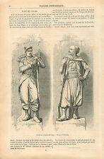 Le zouave & Chasseur à Pied du Pont de l'Alma à Paris GRAVURE ANTIQUE PRINT 1860