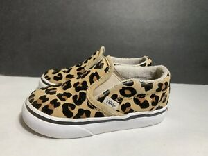 Classic Slip-On Vans Off The Wall Leopard Print Size 6 Toddler