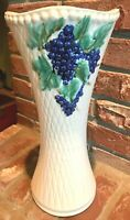 "Vintage McCoy Art Pottery Grapes & Leaves Berries Vase 14 1/4"" Tall Creamy White"