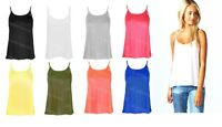 New Ladies Plain Sleeveless Swing Vest Top Strappy Womens Flared Cami
