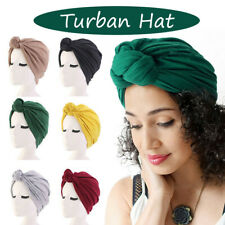 Women Stretch Cotton Turban Hat Knotted African Twist Headwrap Cancer Chemo Cap
