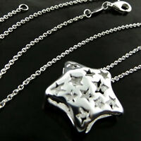 NECKLACE CHAIN GENUINE REAL 925 STERLING SILVER S/F LADIES STAR PENDANT DESIGN