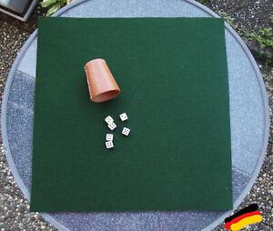 Würfelunterlage Kniffel Knobel Filzmatte 50 x 50 Wollfilz Spielunterlage grün