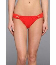 New Women's Shoshanna Solid Red Cherry Loop Bikini Bottoms Size Small