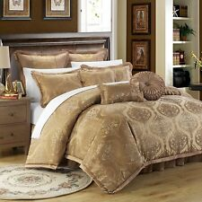 NWT Designer Luxury King Tuscan Comforter 9 Pc Set Gold Jacquard Motif MSRP $749