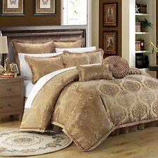 NWT Designer Luxury King Tuscan Comforter 9 Pc Set Gold Jacquard Motif MSRP $749