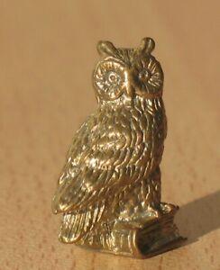 Metal Brass Owl on Book Bird Statuette Sculpture Statue Wisdom Russian Bronze