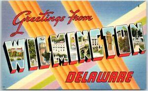 WILMINGTON Delaware Large Letter Postcard Colorful TICHNOR Linen c1950s Unused