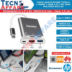 Adattatore Type-C HDMI USB 3.0 Ricarica PD Multiporta Vultech ATC-01