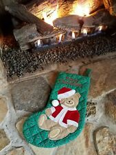 Vintage Christmas Stocking Green Quilted Teddy Bear Merry Christmas Caltoy 16""
