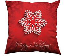 1x 45x45cm Sofa Cushion Cover Pillow Case Christmas Snow Flake Xmas Decoration