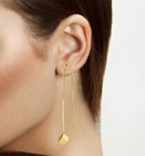 Spargz Gold Plated Party Threader Long Chain Square Drop Alloy Earrings AIER 821