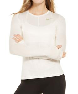 Nike DRI FIT NWT Striped Long Sleeve Training Top, Beige, Size M   YB37