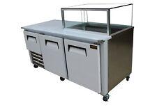 "Brand New Cooltech 2-1/2 Door Low Boy Worktop with Glass Box Refrigerator 72"""