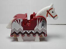 LEGOS - One NEW White Horse with Dark Red Horse Barding Vladek Scorpion Pattern