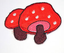 RED TOADSTALL MAGIC MUSHROOMS Embroidered Iron Sew On Cloth Patch Badge APPLIQUE