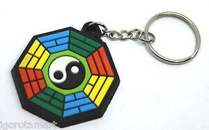 Keyring Key Chain Ring Rubber Gummy Round YinYang Purse Bag PVC