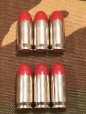 45 ACP SNAP CAPS  SET OF 6, RED AND NICKEL, REAL 230gr WEIGHT!!!