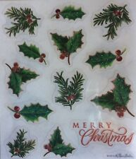 Merry Christmas Holly Pine Holiday Glitter Scrapbook Stickers