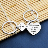 """2pcs """"You Hold The key to My Heart Forever"""" Couple Stainless Steel Keychain"""