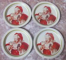Coca Cola Coke Santa Claus Christmas Tin Coasters - Lot of 4