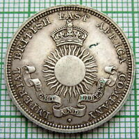 MOMBASA IMPERIAL BRITISH EAST AFRICA COMPANY 1890 H HALF RUPEE SILVER HIGH GRADE