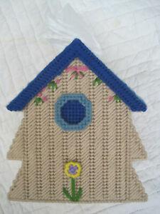 Handmade FINISHED PLASTIC CANVAS BIRDHOUSE TISSUE/KLEENEX BOX COVER