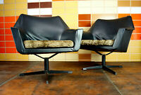 60er Vintage Sessel Fledermaus Easy Chair Drehsessel Danish Chrom 70er 1/2