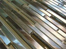 Piastrelle a mosaico argento marrone alluminio spazzolato metallo lucido effetto vetro