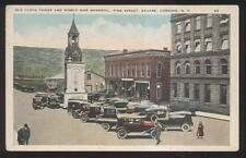Postcard CORNING New York/NY  Pine St Clock Tower & Business Storefronts 1910's