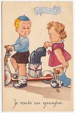JE ROULE AU GAZOGÈNE - Little Boy & Toy Motor Scooter - 1941 used postcard