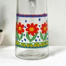 Pichet en verre vintage 70's motifs fleurs