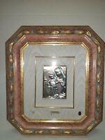 Quadro Capezzale Madonna In Argento dipinto a mano cornice rosa e oro 46x40