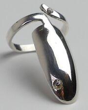 Ring Designer Modernist 2 Zirkonias 925 Silber Vintage 70er Silver Ring
