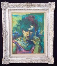 """Mid Century Portrait """"Lady"""" Painting Signed Gershgoren ? Illegible Impasto"""