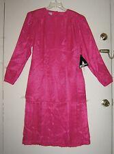 Womens Argenti Pure Pink Dress Sz 10 Vintage Polka Dot Pleated Mid-Calf Work