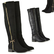 Womens Stretch Over The Knee High Boots Ladies Zip Up Buckle Winter Shoes Size