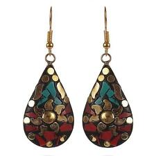 Metal Dangle & Drop Earrings Zephyrr Stunning Tibetan Red, Green Non-Precious