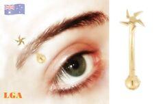 1 x Ninja Star Gold Pl Eye Titanium Eyebrow Ring Hoop 16g 8mm FREE Aussie Post*
