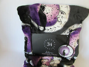 Artisan 34 Velvet Plush Throw Halloween Moon Black Cat Throw Blanket Purple Soft