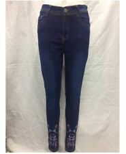DARK BLUE SKINNY JEANS WITH LITTLE FLOWERS EMBROIDERED SIZE 28