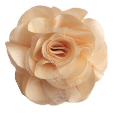 Pince à cheveux bibi broche fleur satin tulle beige crème cérémonie mariage