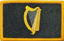 IRISH Flag Patch With VELCRO® Brand Fastener Black & Gold. Gold Border #3