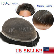Full French Lace Men Toupee Natural Hairline Transparent Hair System Replacement