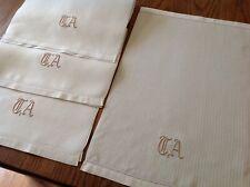 """#27 Vintage Set Lot of 4 Linen Damask Hand Towels Monogram """"Ta"""" Classic Elegance"""