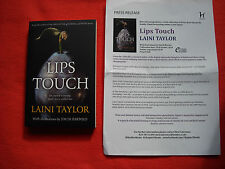LAINI TAYLOR - LIPS TOUCH - 1ST EDITION 1ST PRINTING WITH PRESS RELEASE MINT